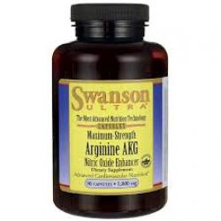 Swanson Ultra Maximum Strength Arginine AKG Nitric Oxide Enhancer 1,000 mg / 90 Caps