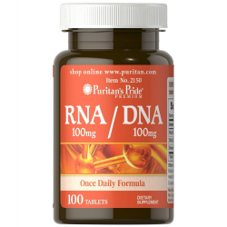 Puritan's Pride RNA/DNA Plus Brewer's Yeast 100 mg/100 mg/398 mg / 100 Tablets