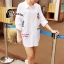 พร้อมส่ง เสื้อเกาหลี Long Shirt สีขาว thumbnail 2